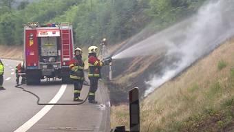 Brand beim Autobahnzubringer T5 bei Aarau