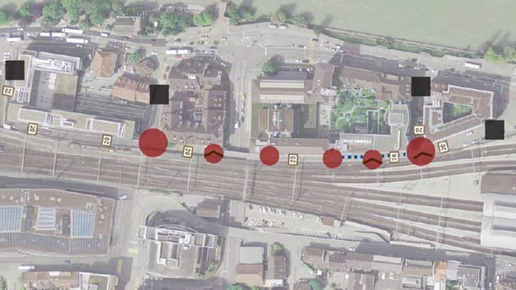 Rot werden die Knoten und Einfahrten hervorgehoben, Schwarz die Eingangstore/Zonensignal Begegnungszone.