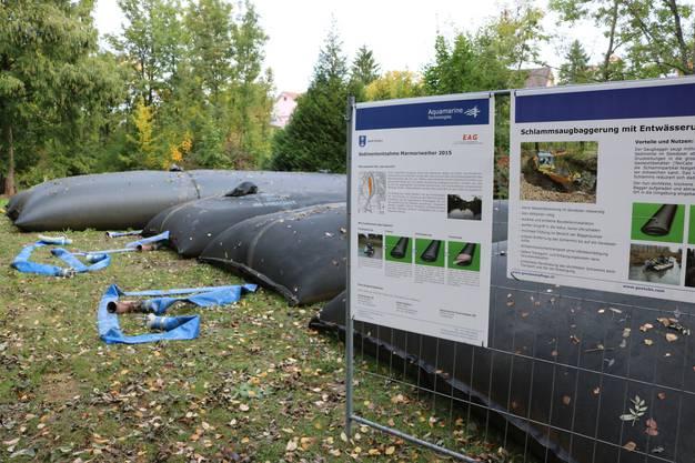 Auf Infotafeln können sich Besucher des Weihers über die Sedimententfernung informieren (2)