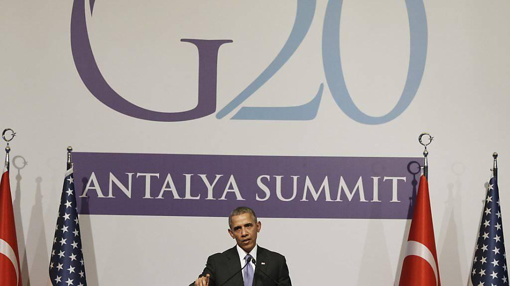 US-Präsident Barack Obama spricht am G20-Gipfel im türkischen Belek.