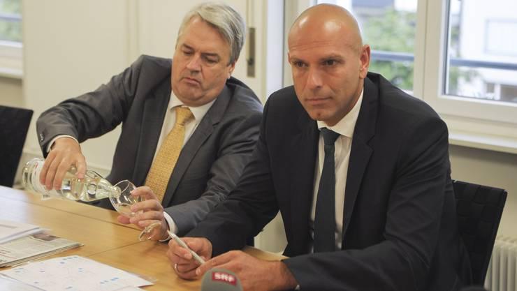 Mit windigen Begründungen ihrer Anwälte versuchen sich Martin Gudenrath (links) und Jürg Baumgartner zu rechtfertigen.