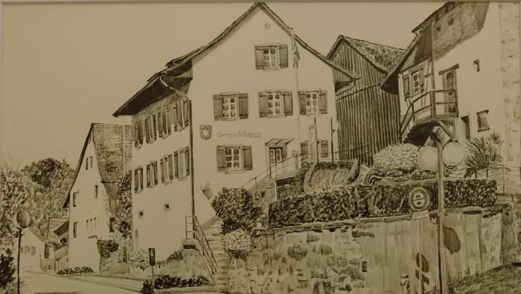 Das Oetwiler Gemeindehaus, gezeichnet von Monica Hollenweger.