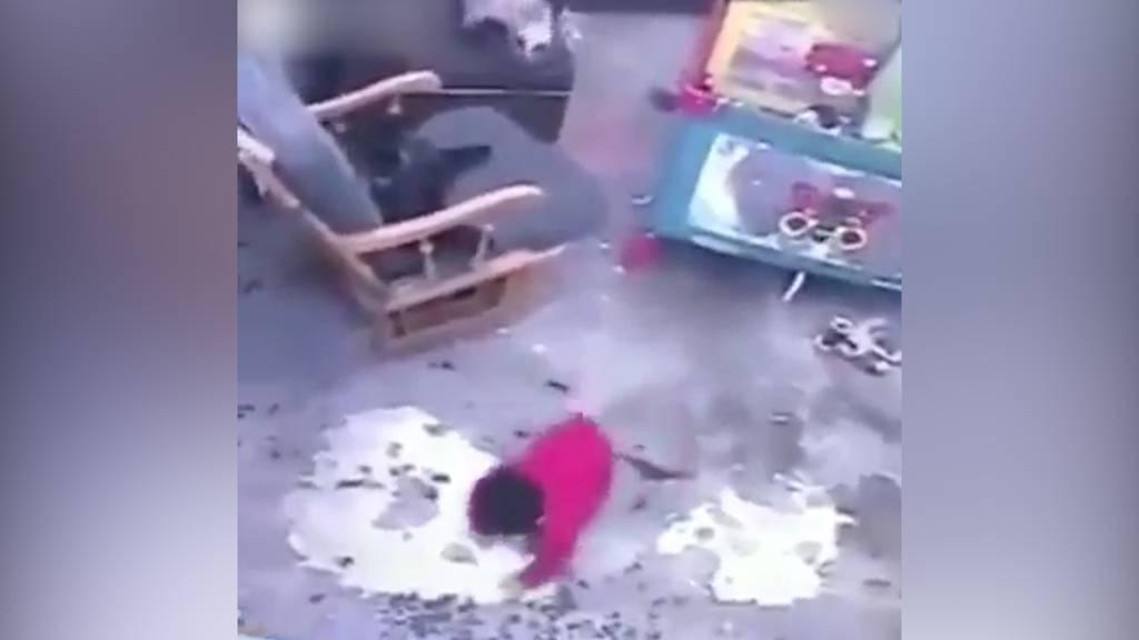 Katze rettet Baby das Leben