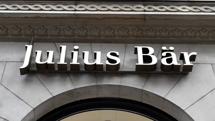 Das Logo der Privatbank Julius Bär in Zürich. (Bild: Walter Bieri/Keystone, 31. Januar 2018)