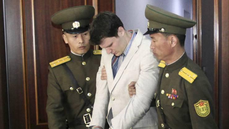 Otto Frederick Warmbier: Zu 15 Jahren Straflager wurde er verurteilt, 17 Monate lang war der US-Student darauf in Nordkorea in Haft. (Archivbild vom16. März 2016)