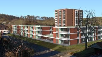 Die Visualisierung zeigt die neue Alterssiedlung mit Hochhaus und Neubauten. Fugazza Steinmann Partner AG, Wettingen