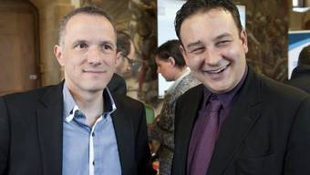 SP-Kandidaten Laurent Kurth (l.) und Jean-Nathanaël Karakash