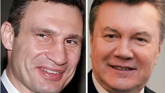 Stehen sie sich bald in einem Fernseh-Duell gegenüber: Vitali Klitschko und Viktor Janukowitsch.