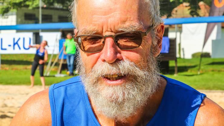 Ueli Riser war der älteste Teilnehmer am AEW Beach Trophy Finalturnier in Aarburg.