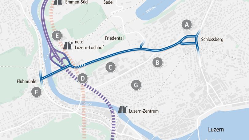 So trifft die Spange Nord das Luzerner Maihofquartier (Archiv).