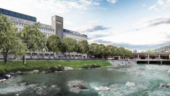 Die Stadt will zwischen der Sihlpost und der Postbrücke beim Zürcher Hauptbahnhof Sitzstufen bauen. (Visualisierung)