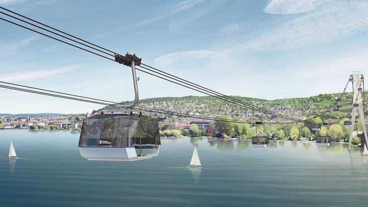 Für fünf Jahre möchte die ZKB eine Seilbahn über den Zürichsee fahren lassen.