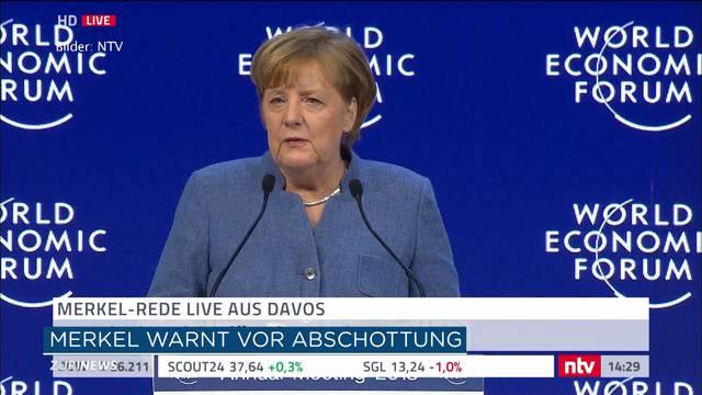 WEF: Merkel plädiert für mehr Zusammenhalt