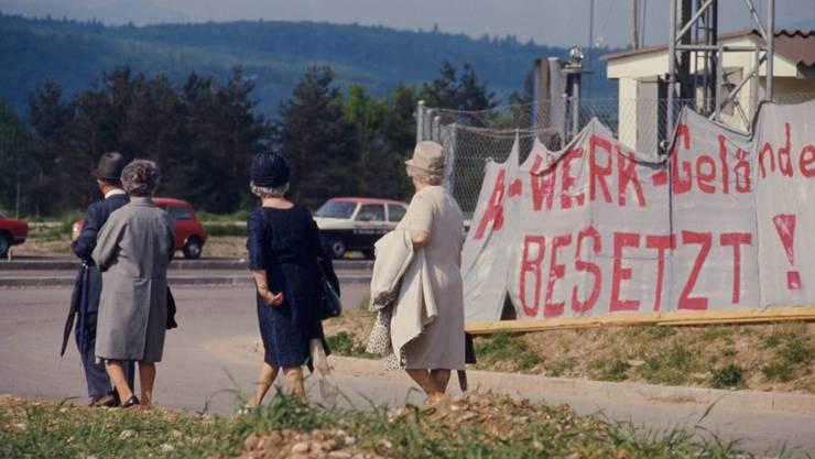 Szene des besetzten Werksgeländes im April/Mai 1975.