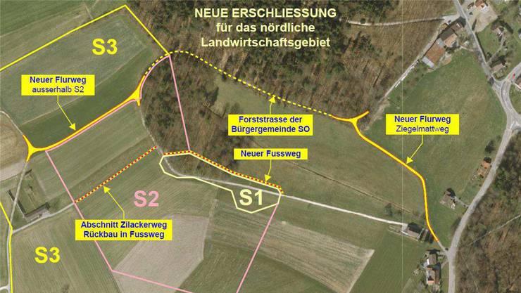 Links das Schützenhaus, rechts die Verbindungsstrasse zwischen Langendorf und Rüttenen.