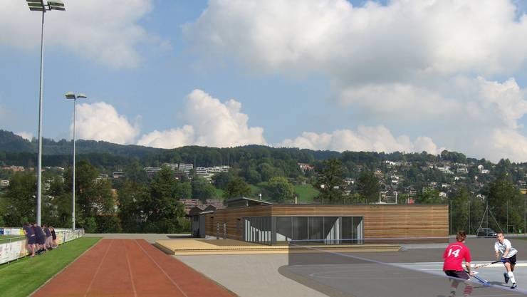Einfacher Baukörper mit Flachdach: Das neue Clubgebäude. (Bildmontage asp Landschaftsarchitekten AG/Hornberger Architekten AG)