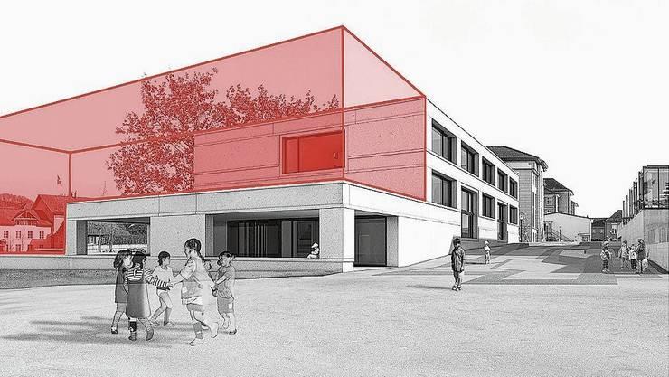 Die erste, 2013 in Betrieb genommene Etappe des Schulhauses Mühlematt soll einen abgewinkelten, mindestens dreigeschossigen Anbau erhalten.
