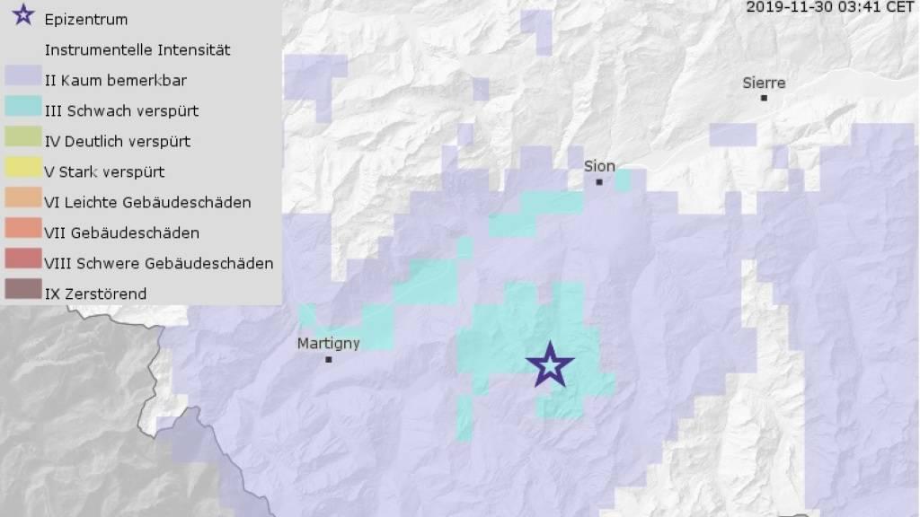 Leichtes Erdbeben erschüttert das Wallis