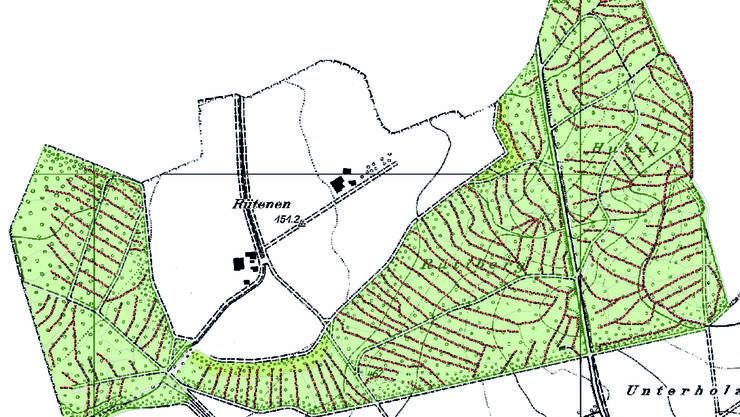Heute wird der Wald von einem fixen Rückegassennetz (siehe Beispiel) aus bewirtschaftet. So wird im Bucheggberg nur rund 3,5 Prozent der Gesamtwaldfläche befahren.