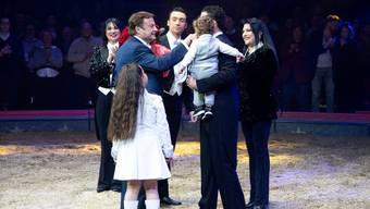 Die Familie Knie während ihrem Auftritt an der Premiere zur 100-Jahre-Jubiläumstournee des Circus Knie in Rapperswil (SG), am Donnerstag, 21. März 2019.