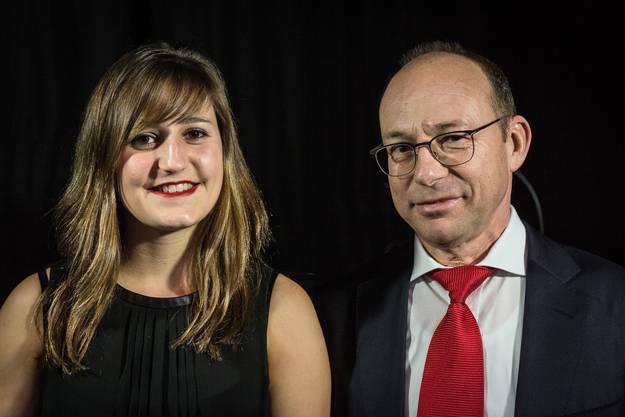 Wasserspringerin Vivian Barth und Hubert Zimmermann, CEO der AEW Energie AG.