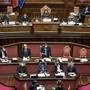 Giuseppe Conte (M), Ministerpräsident von Italien, spricht im Senat. Foto: Lapresse / Roberto Monaldo/LaPresse via ZUMA Press/dpa