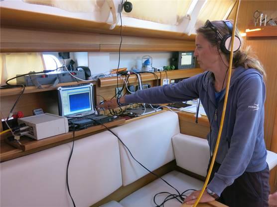 Wer tummelt sich in der Tiefe unter dem Boot? Biologin Silvia Frey hört über das Unterwassermikrofon Pfiffe von Delfinen.