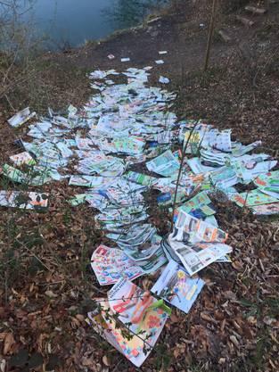 31. März: Illegal entsorgte Werbedrucksachen in Rümikon.