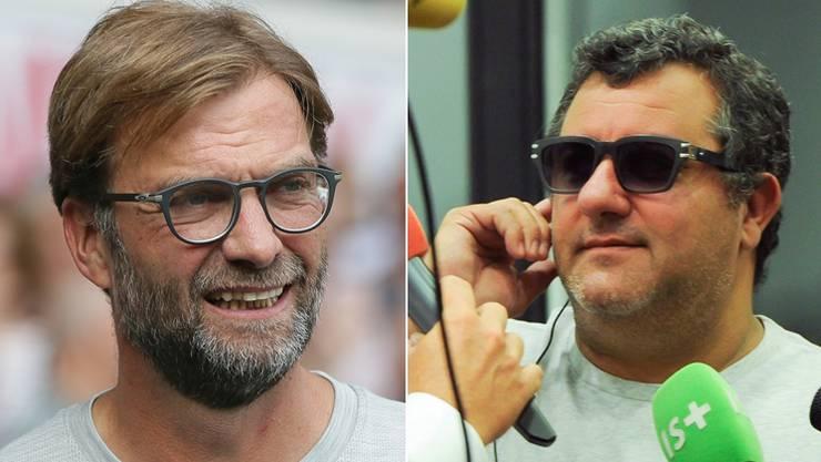 Jürgen Klopp und Mino Raiola: Was Mario Balotelli angeht, unterschiedlicher Meinung.