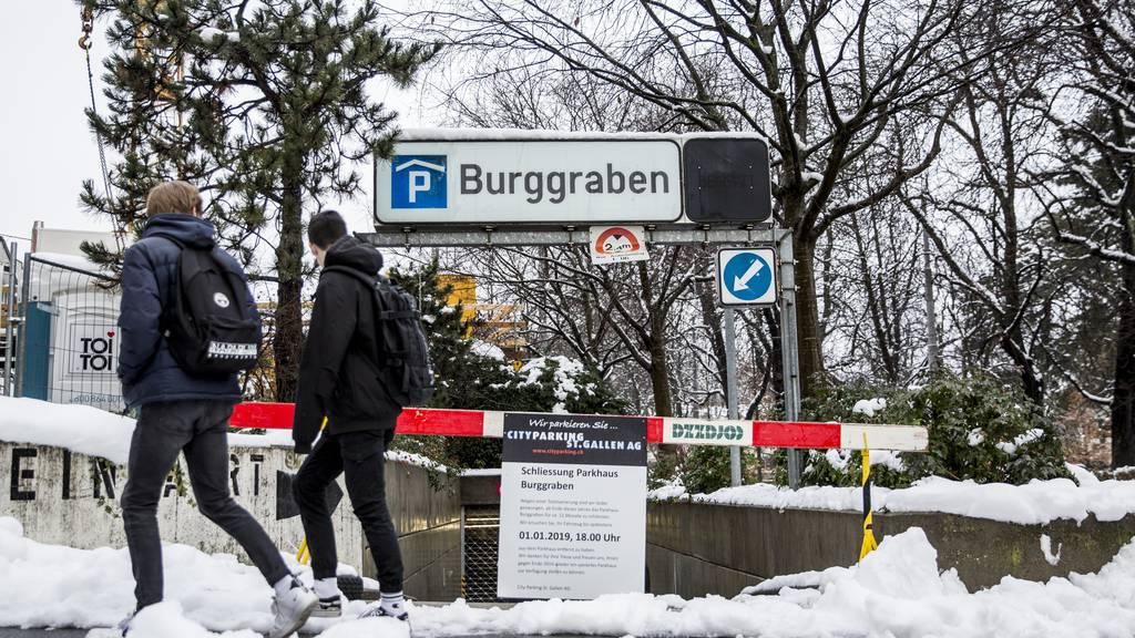 Wegen Bauarbeiten geschlossen: das Parkhaus Burggraben in St.Gallen.