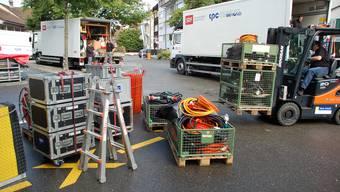 So ähnlich wird es ab nächsten Montag aussehen, wenn die Aufbauarbeiten für das nächste «SF bi de Lüt» in Rheinfelden beginnen.