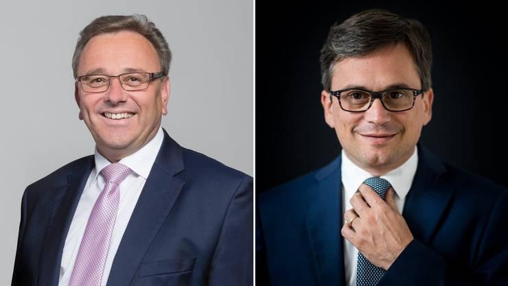 Roberto Schmidt (links) übernimmt von Christian Vitta das Präsidium der Regierungskonferenz der Schweizer Gebirgskantone.