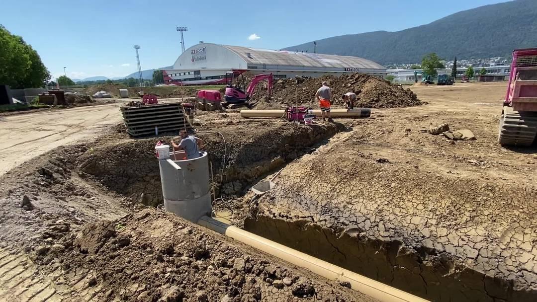 Eindruck von der Baustelle des Grenchner Turnerstadions Anfang August 2020