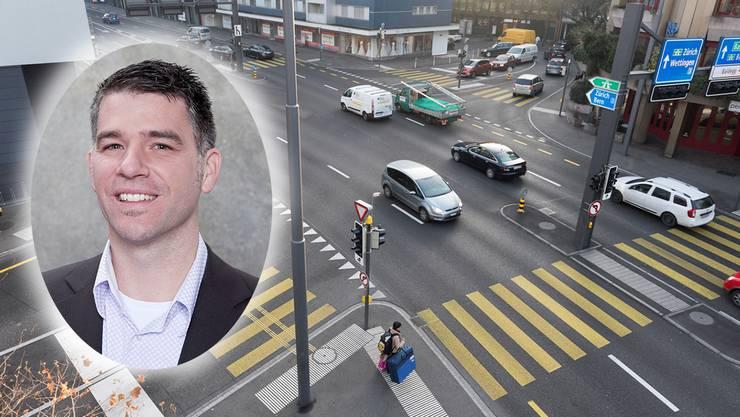 Der Badener Stadtrat Matthias Gotter kämpft für einen Blitzer an der Gstühl-Kreuzung.