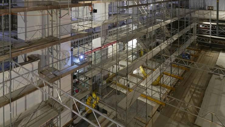 Die Gerüste im Innern der Stadtkirche werden demnächst abgebaut. Kso