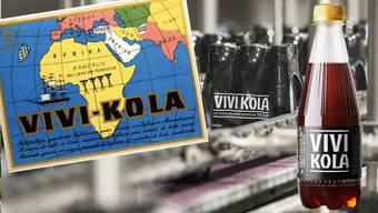 Links das ursprüngliche Etikett von Vivi Kola aus den 30er-Jahren, rechts die neue 33-Zentiliter-PET-Flasche im moderneren Design.