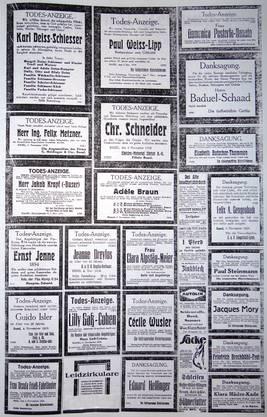 Grippe 1918: Seitenweise Todesanzeigen.