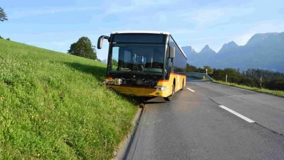 Der Bus kam im Strassenbord zum Stillstand.