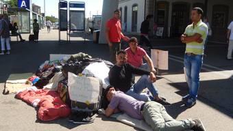 Vom 9. bis 13. August 2013 protestierten 10 Asylbewerber vor dem Solothurner Bahnhof gegen ihre Unterkunft in Kestenholz.