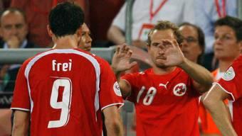 Mauro Lustrinelli an der WM 2006: Im Achtelfinal gegen die Ukraine wird er in der 117. Minute für Alex Frei, den treffsichersten Penaltyschützen, eingewechselt. .