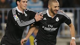 Real Madrids Torschützen Gareth Bale (l.) und Karim Benzema