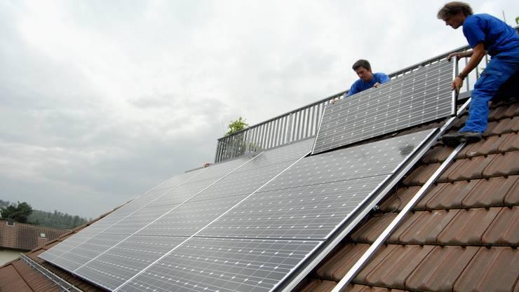 Solaranlage auf dem Einfamilienhaus. az