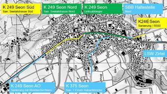 Dieser Plan zeigt die kommenden Bauprojekte in Seon. ZVG/ BVU