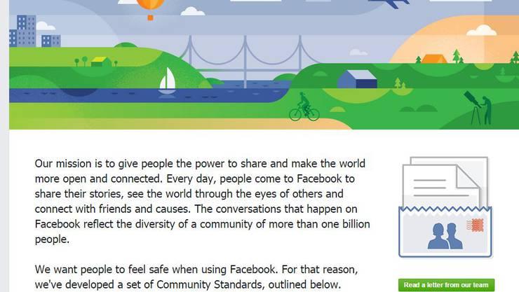 In den Statuen werden die Mitglieder von Facebook über die Verhaltensregeln aufgeklärt.