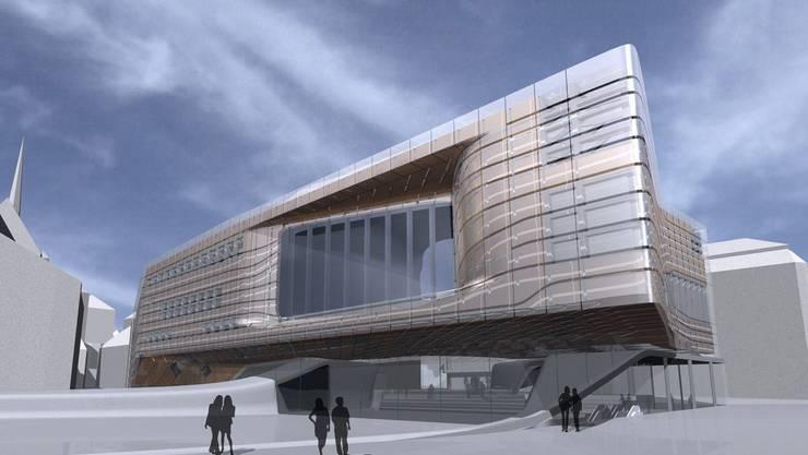 So hätte das an der Urne gescheiterte neue Stadtkasino von Zaha Hadid ausgesehen.