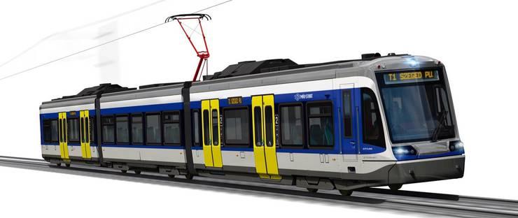Visualisierung eines Tram-Trains des Typs Citylink von Stadler für die ungarische Staatsbahn MÁV.