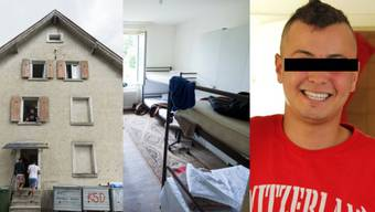 Asylzentrum Rekingen von aussen (l.), Blick in ein Zimmer (mitte) und der mutmasslcihe Dieb.