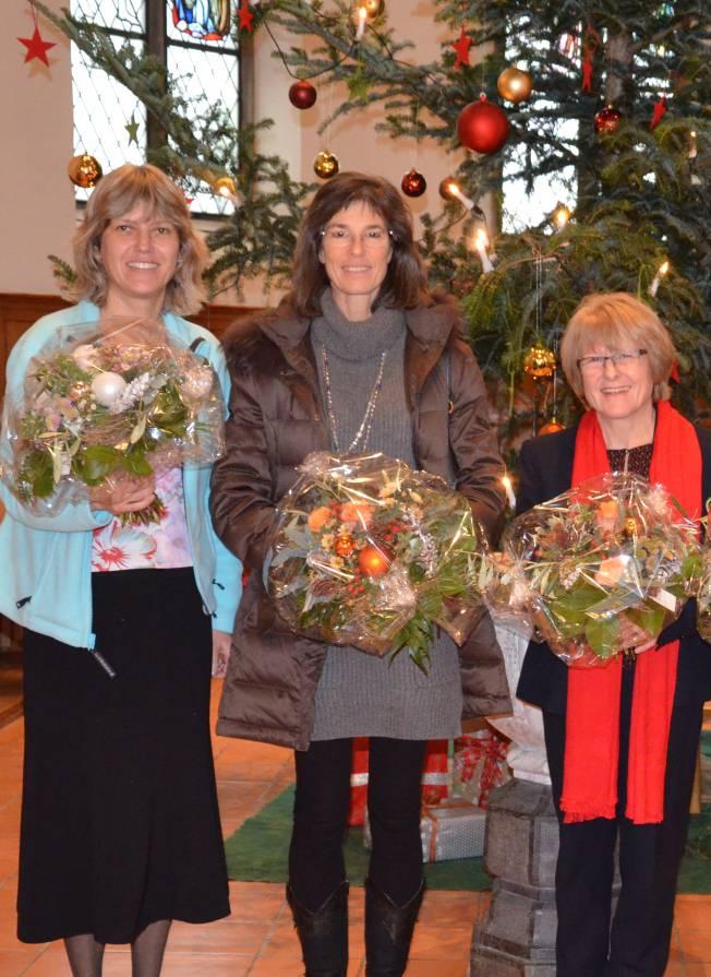 v.l. Patrizia Müller, Sozialdiakonin, Daniela Kunath, Mirjam Hauser, Kirchenpflegerinnen