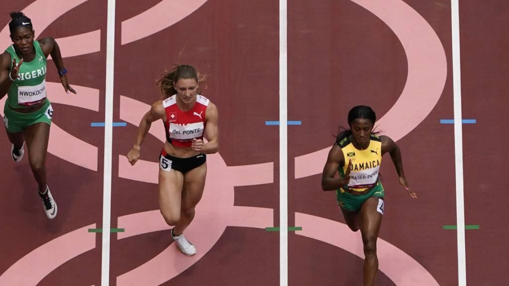 Ajla Del Ponte (Mitte) musste sich nur Shelly-Ann Fraser-Pryce (rechts) geschlagen geben.