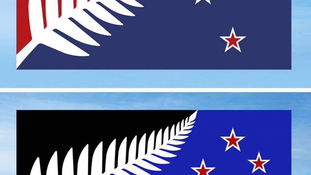 Der von den Wählern favorisierte Entwurf (unten) zeigt eine weisses Blatt auf halb schwarzem, halb blauem Hintergrund und vier rote Sterne auf der rechten Seite. Der zweitplatzierte Entwurf (oben) zeigt das identische Design auf rot-blauem Hintergrund.